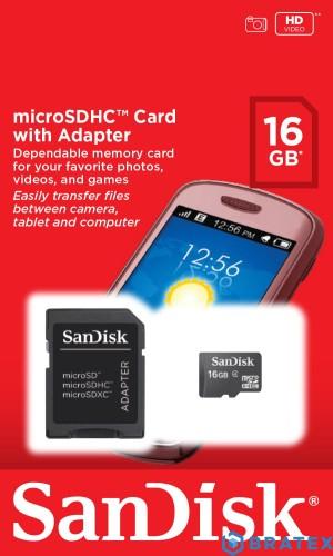 SanDisk micro SD 16GB z Adapterem SD