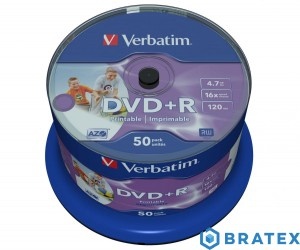 Verbatim DVD PLUS R 16x 4.7GB 50 Printable