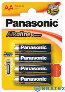 4 x Panasonic alkaline power LR6/AA (blister)