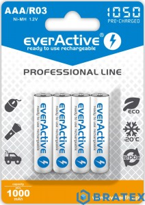 4x akumulatorki everActive R03/AAA Ni-MH 1050 mAh ready to use