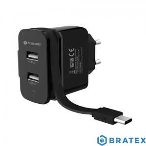 PLATINET WALL CHARGER 2xUSB + ROLLING CABLE Type-C 3.4A PLCURTC