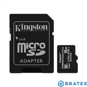 Kingston Karta pamięci microSD 16GB Canvas Select Plus 100MB/s + Adapter